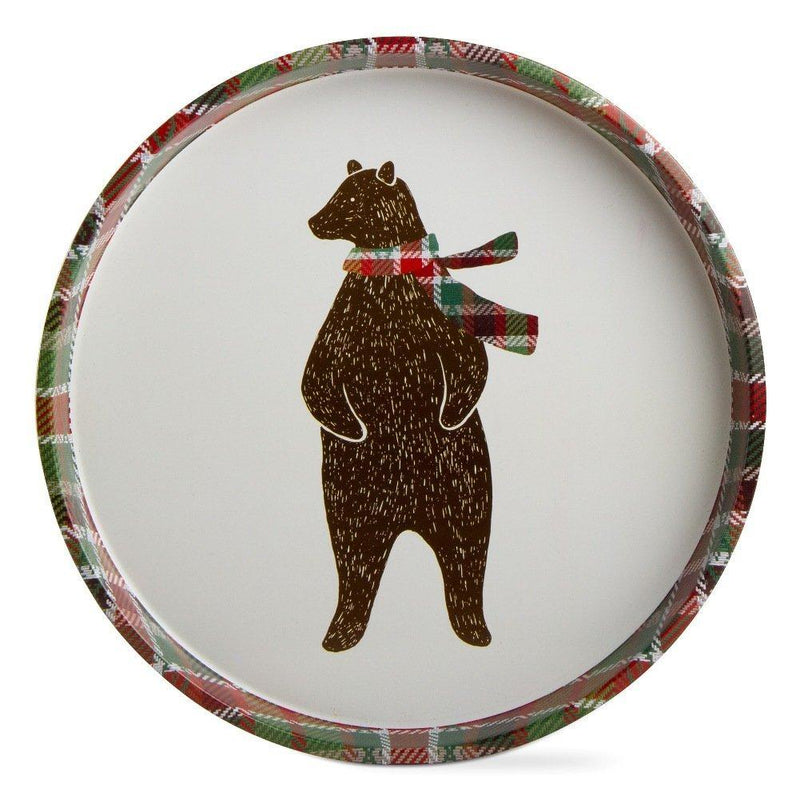 TAG Woodlands, Joy to the World Collection Plaid Bear Tin Tray