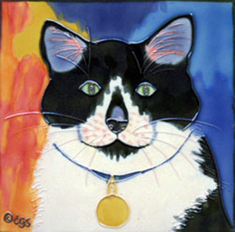 "Claudia Sanchez Decorative Ceramic Cat Tile, ""Bootie"""