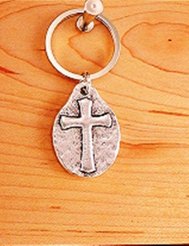 Vilmain Pewter Cross Key Ring, Made in the USA