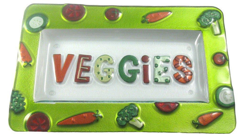 New Veggies Glass Fusion Platter by Lori Siebert