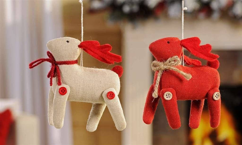 Giftcraft Fabric Deer Ornaments, Set of 2
