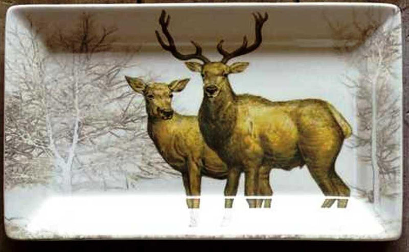 Creative Co-Op Natural Lodge Collection Ceramic Rectangle Plate with Wildlife Image, Choice of Style
