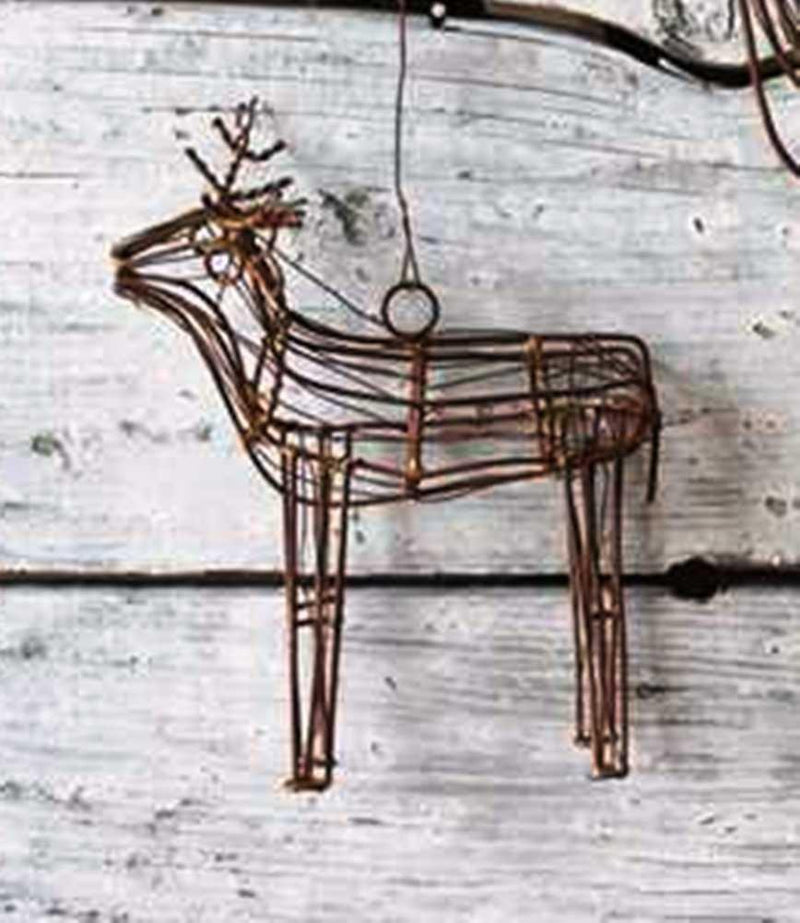 Creative Co-Op Natural Lodge Collection Wire Deer Ornament