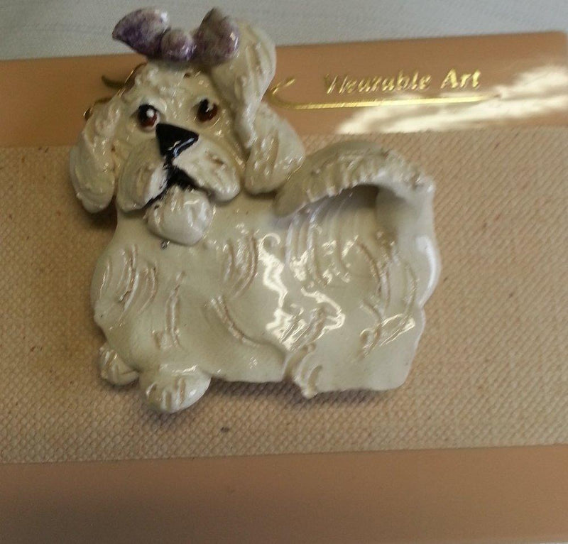 Amy Lacombe Original Handmade Ceramic Pin, Maltese, Purple Bow