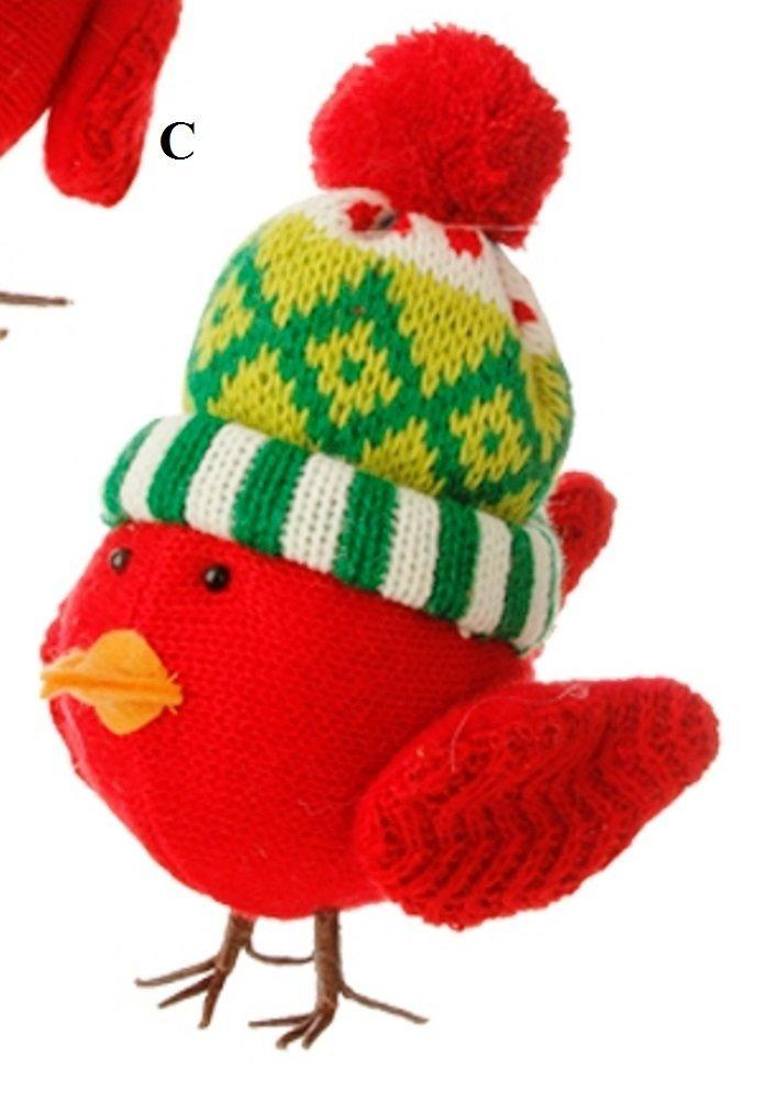 RAZ Merry & Bright Knit Bird Ornament, Choice of Style, C