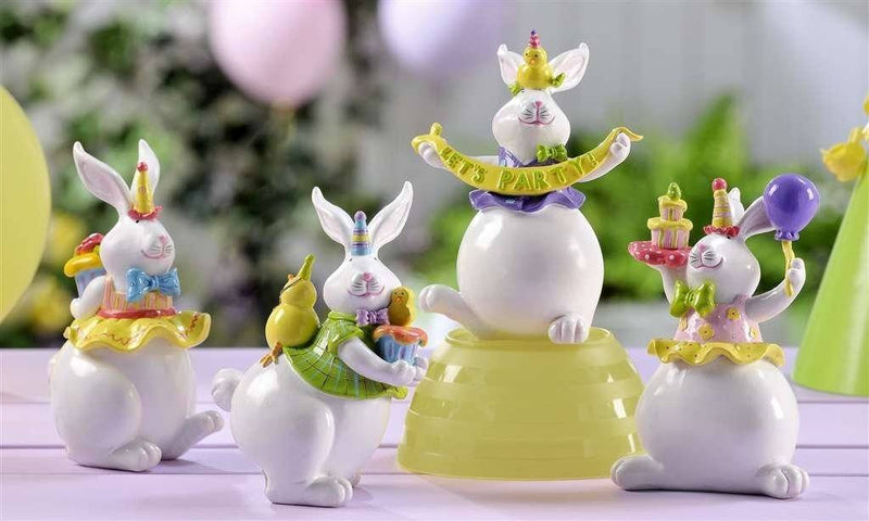 Giftcraft Bunny Party Figurines, Set of 4