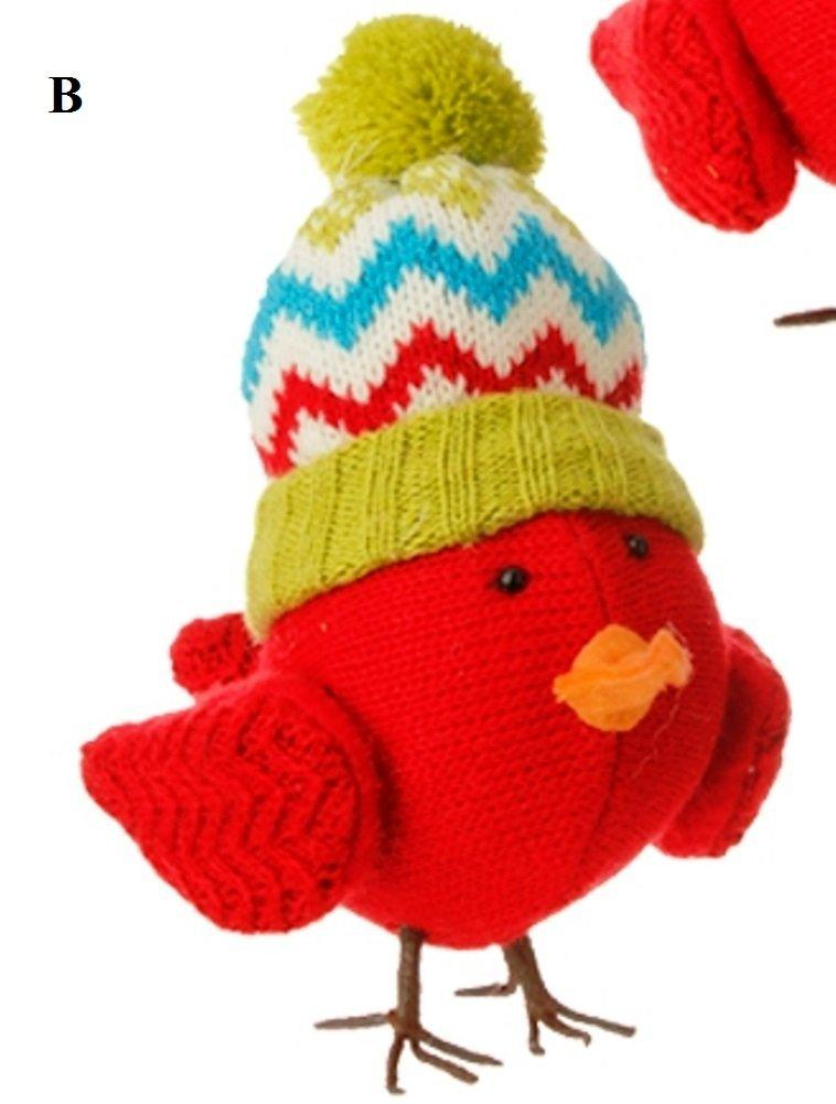 RAZ Merry & Bright Knit Bird Ornament, Choice of Style, B