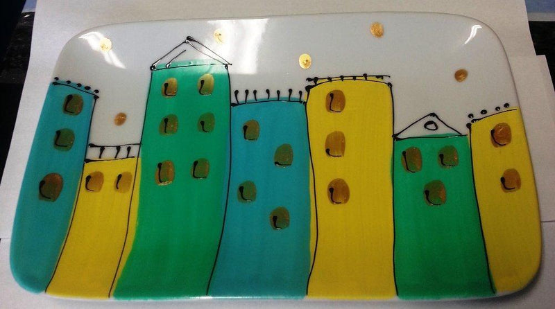 Handpainted Houses Glass Rectangular Platter by Leslie