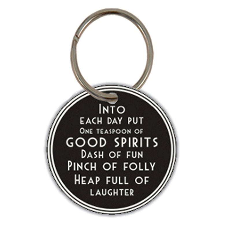 "East of India ""Into Each Day"" Round Key Ring"