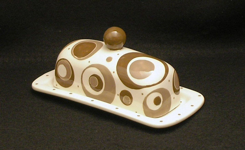 E.I. Designs Brown/Taupe Circles Ceramic Butter Dish, Handmade in the USA