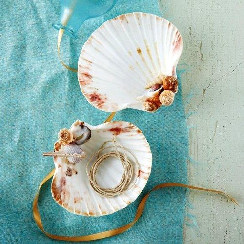 Two's Company Decorative Footed Shell Dish - Set of 2