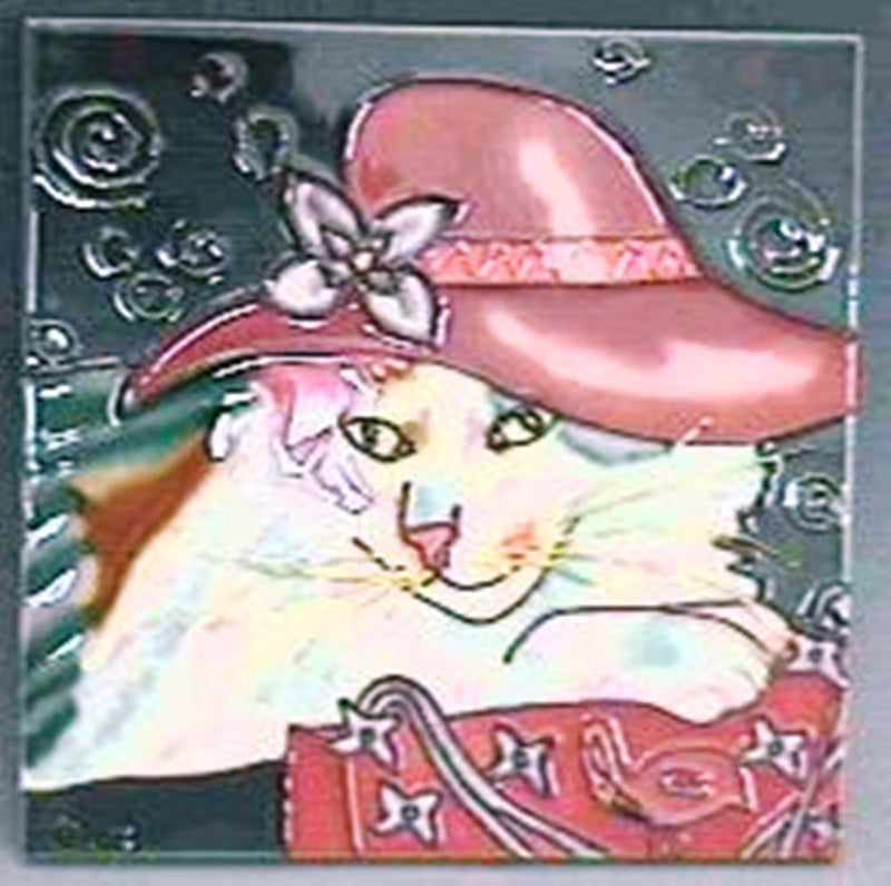 Claudia Sanchez Decorative Ceramic Cat Tile, Red Hat Cat