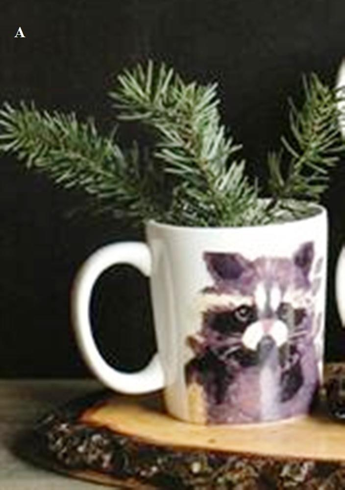 Creative Co-Op Camp Christmas Stoneware Mug With Animal Image, Choice of Style