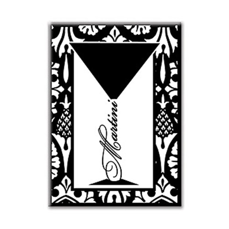 "Epic 76-415 3 1/2"" Black & White Art Deco Inspired 'Martini' Design Magnet"
