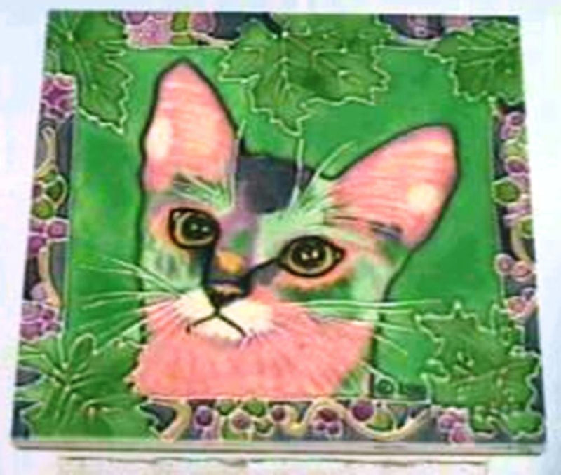 Claudia Sanchez Decorative Ceramic Cat Tile, Kahui Prince of Grapes - Gifts From A Distance