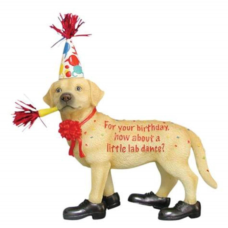 Happy Birthday Yellow Lab Figurine from Westland Giftware, Retired - Westand Giftware