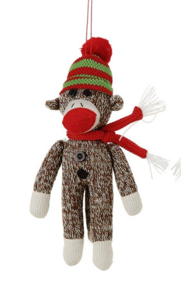 Creative Co-op Country Christmas Collection Sock Monkey Ornament, Choice of Color