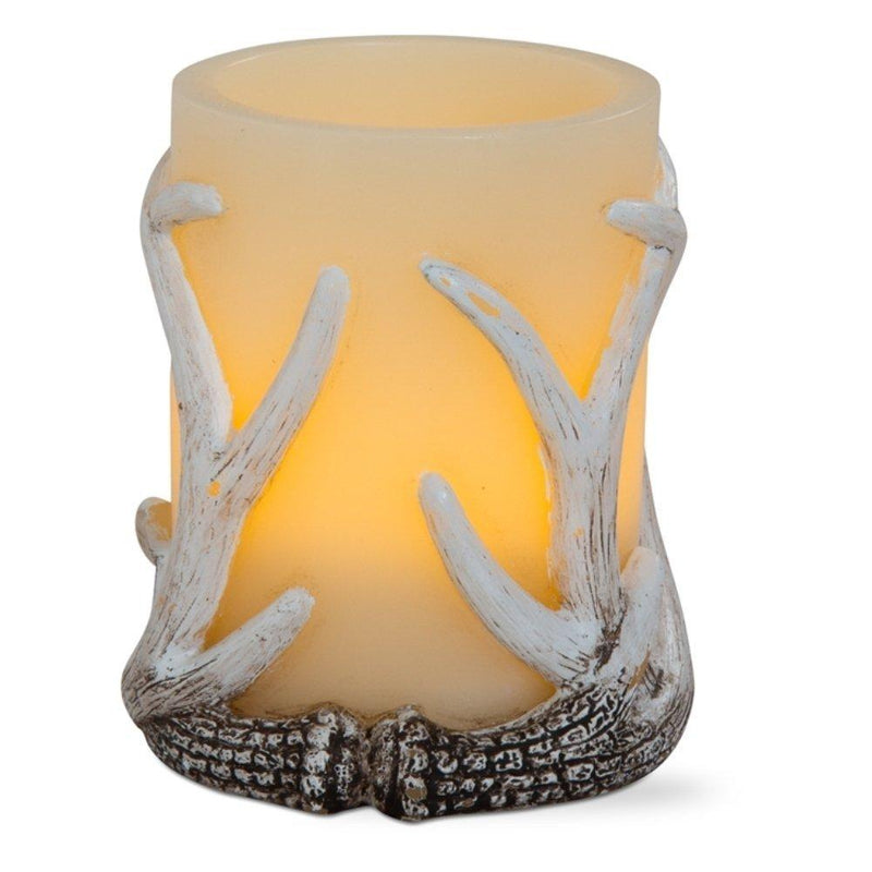 TAG Woodlands, Joy to the World Collection Antler Flameless LED Pillar Candle