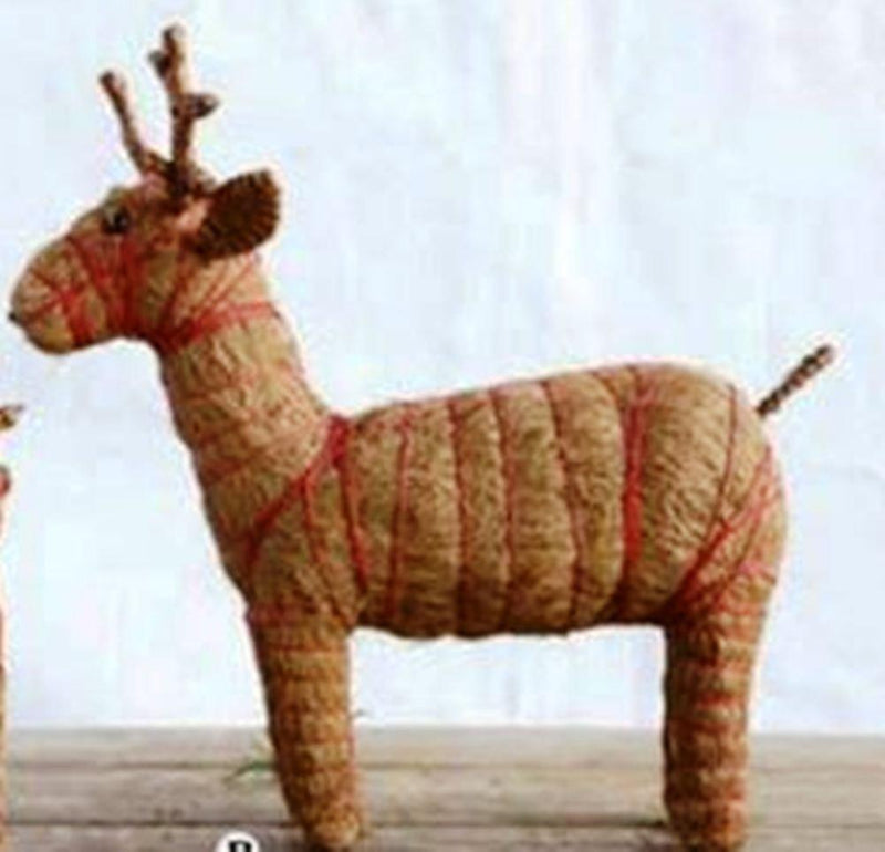 Creative Co-Op Country Christmas Collection Coco Fiber Reindeer With Red String