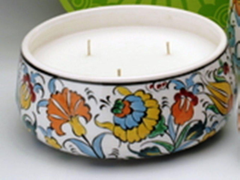Prosperity Catalyst Akkadian Collection Garden of Eden Handpainted 3-Wick Ceramic Bowl Candle