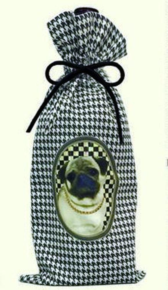 Poppa-Artzee Wine Bottle Bag, Pug