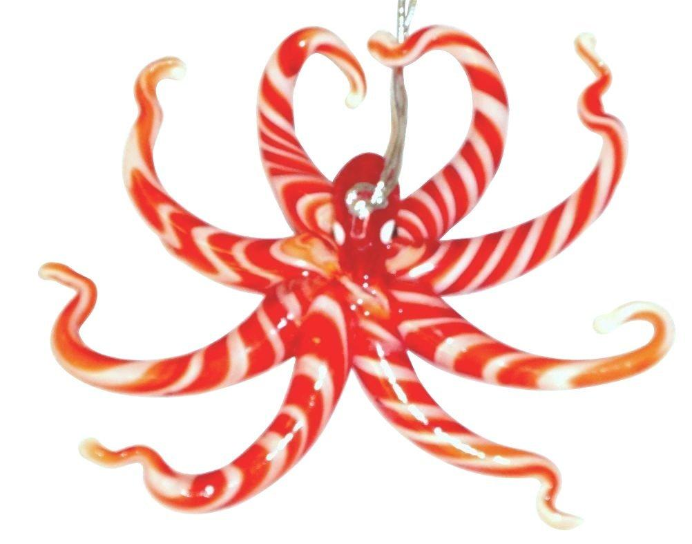 Glass Octopus Christmas Ornament , Red and White Striped Glow in the Dark