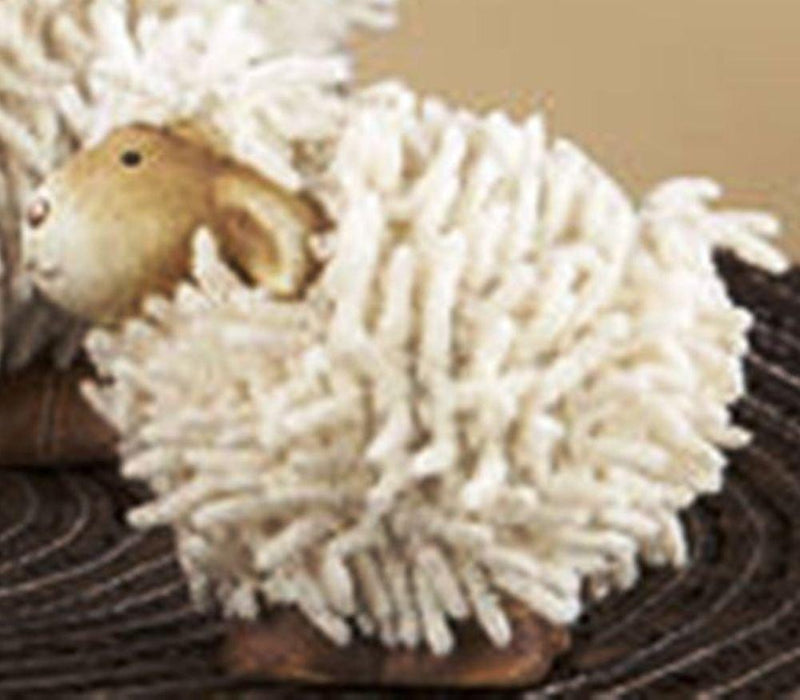 Delton Products Ceramic Shaggy Sheep Figurine, Set of 2