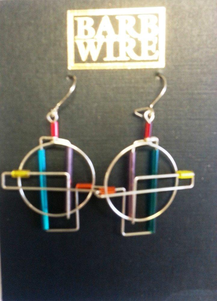 Barb Wire, Handmade Barb Wire Round Earrings, Made in the USA