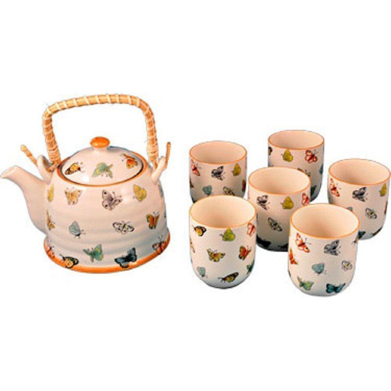 StealStreet 10056 7 inch Butterfly Decorated Ceramic Tea Set with Six Cups, Multicolor