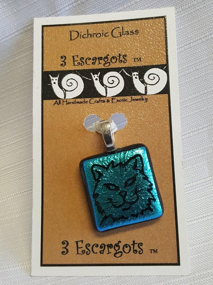 3 Escargots Dichroic Glass Cat Pendant