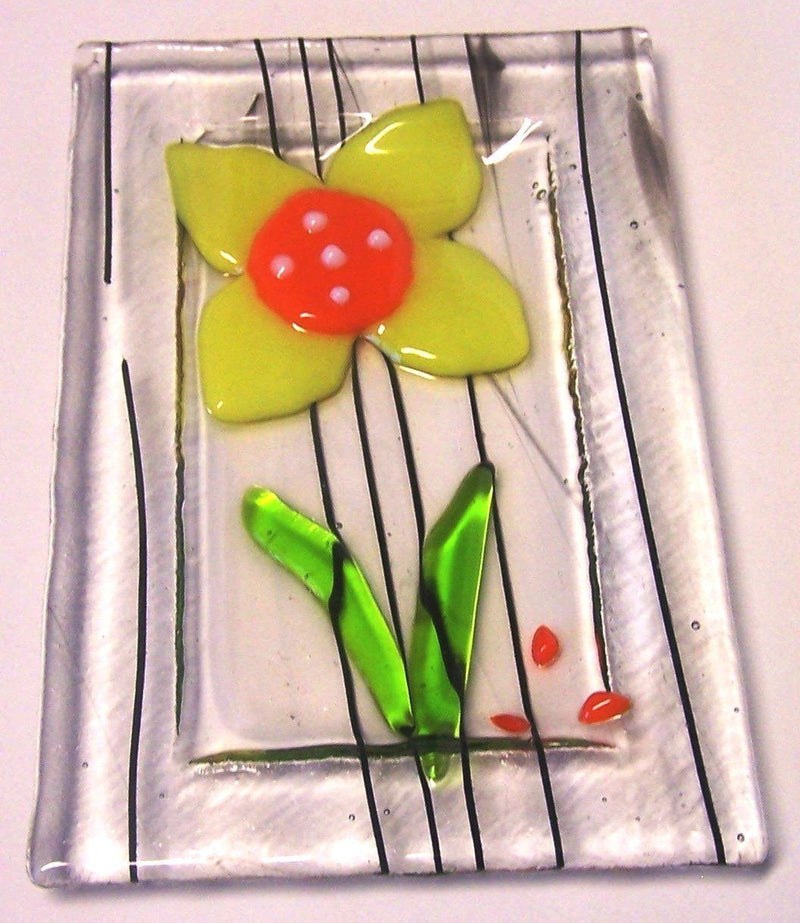 Snazzy Glass Yellow Flower Trinket Dish