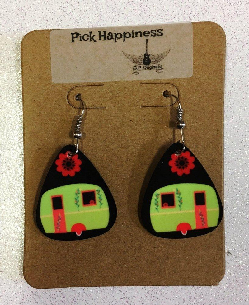 GP Originals Pick Happiness Camper Earrings, Green Camper