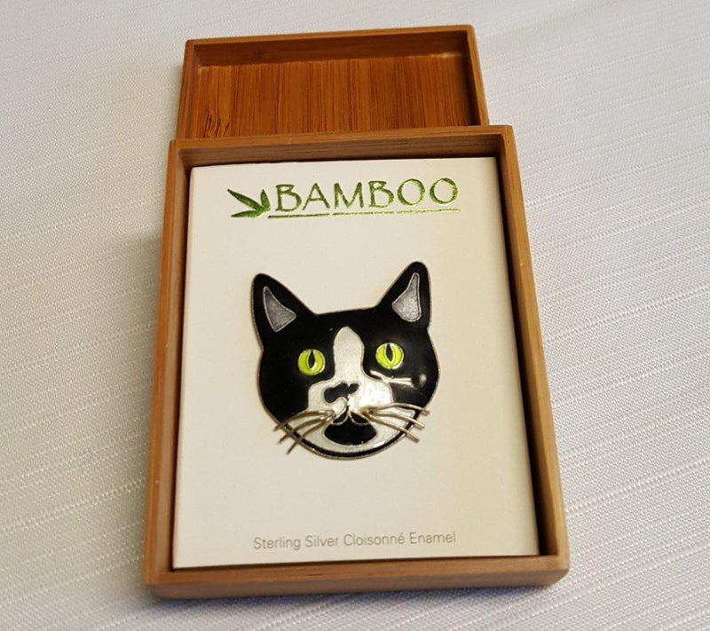 Bamboo Jewelry Cat Pin