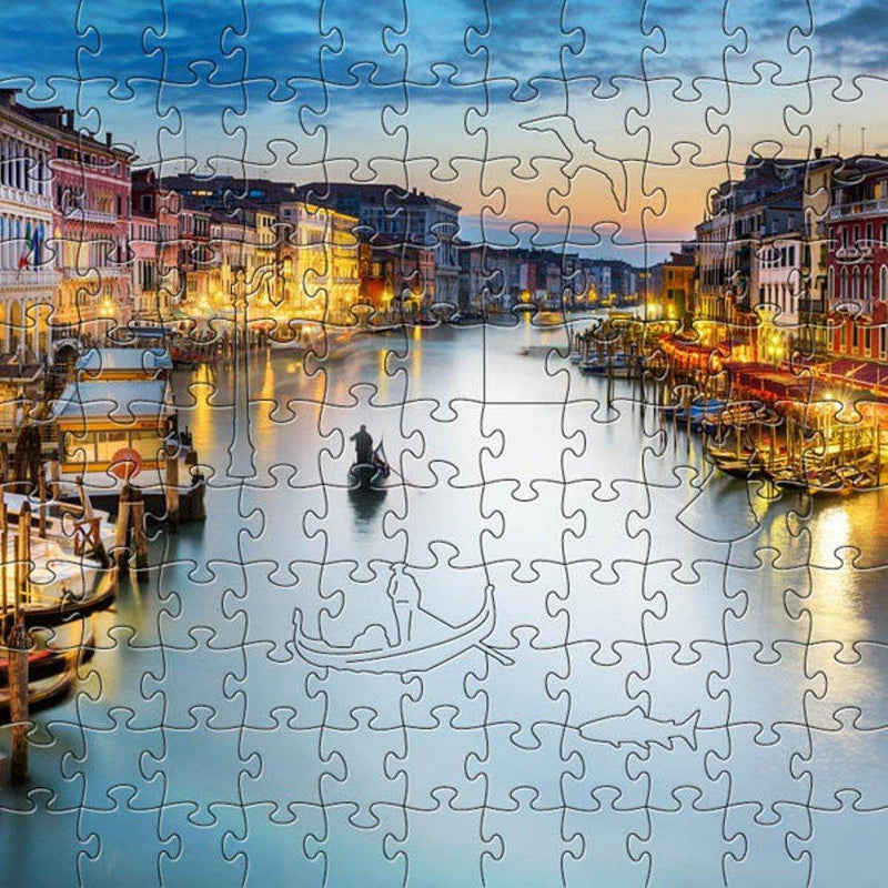 Zen Art & Design Artisanal Wooden Jigsaw Puzzle, Grand Canal at Dusk, Medium