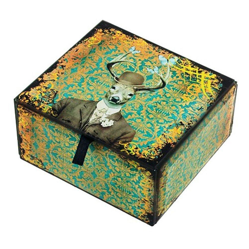 World Buyers Deer Print Glass Jewelry/Keepsake Box