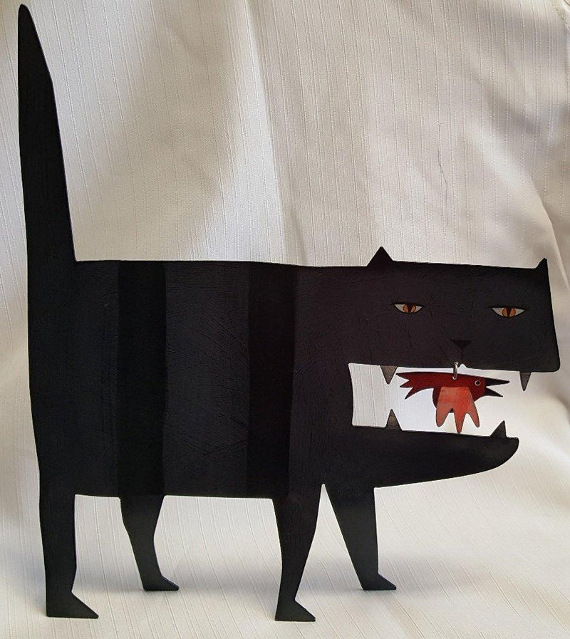Black Cat Artworks Bad Kitty Metal Figurine, Handmade in the USA