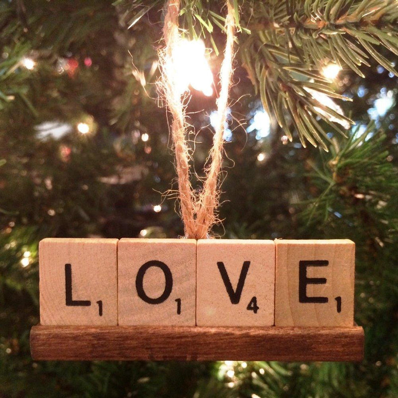 Fossati Designs Scrabble Ornament, Love, Handmade in the USA