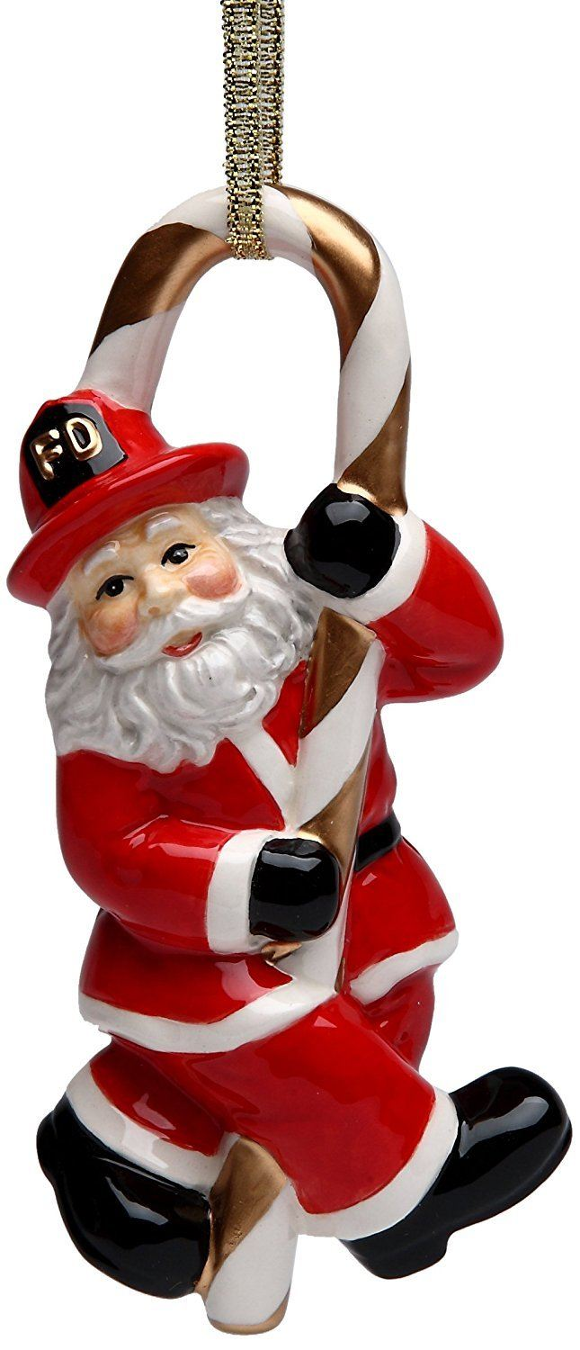 Cosmos Gifts 10716 Fireman Santa Ceramic Figurine with Ribbon, 4-5/8-Inch