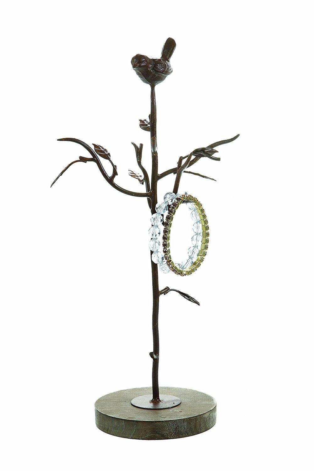 Creative Co-op Aviary Decorative Metal Jewelry Tree with Bird