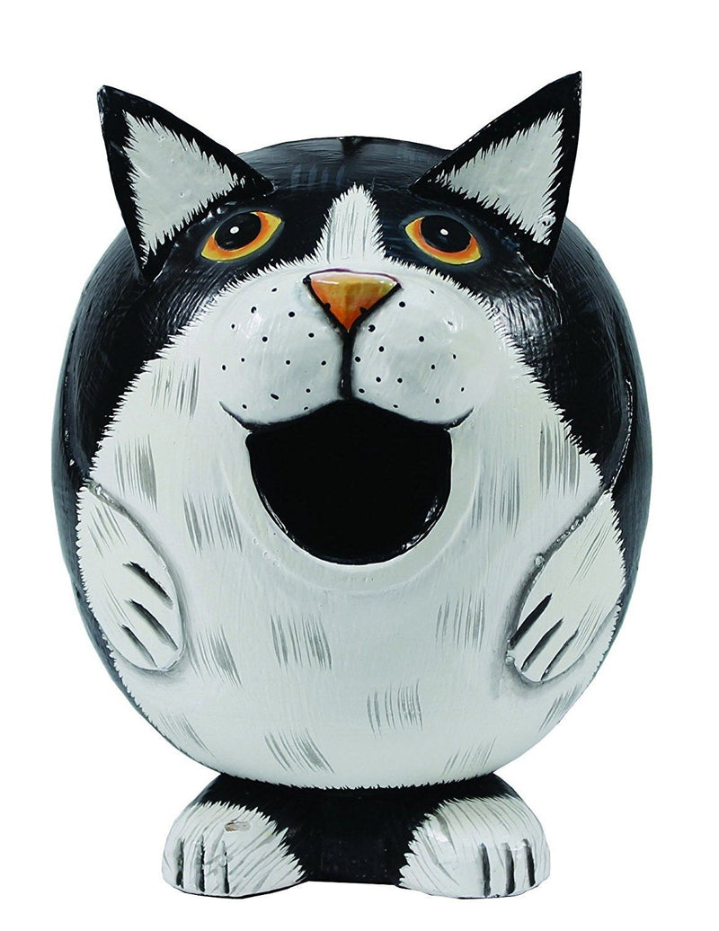Bobbo Handcrafted Birdhouse - Black & White Cat Gordo