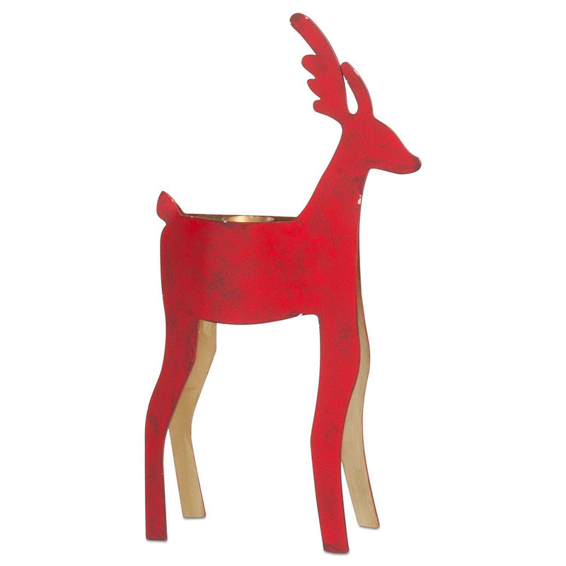 tag Christmas Reindeer Large Taper Holder