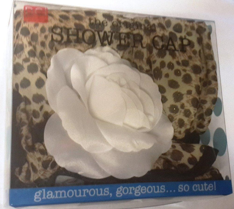 DCI Animal Print Glam Shower Cap, White Flower
