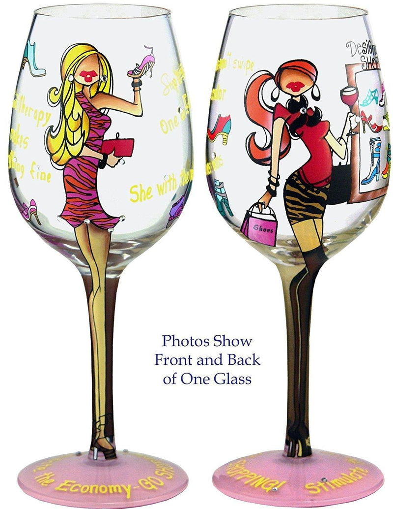 Bottom's Up 15-Ounce Queen of Shoes Handpainted Wine Glass