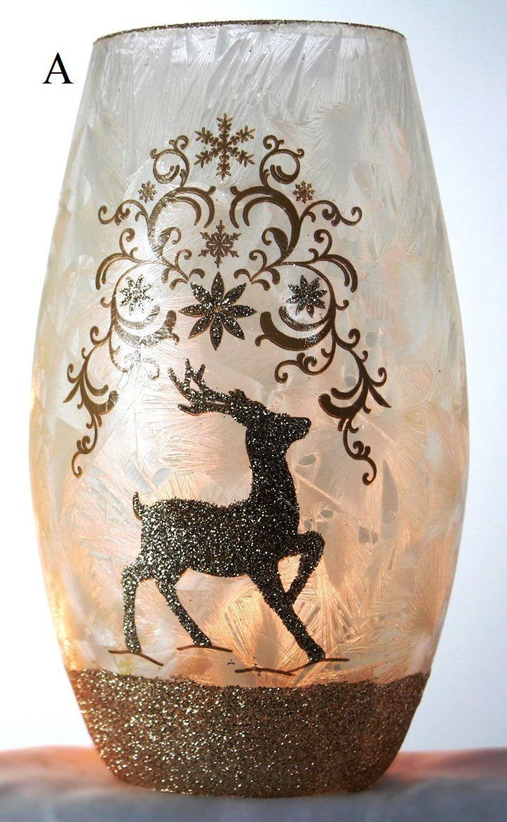 Stony Creek Holiday Gold Collection Lighted Glass Vase, Choice of Style