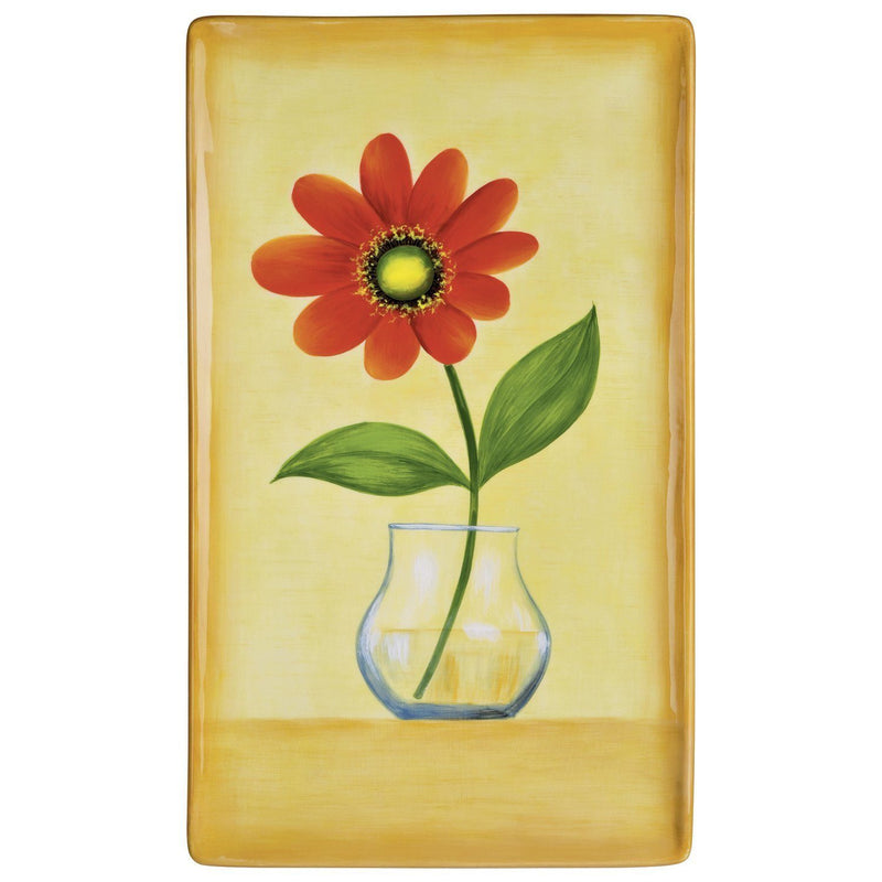 Grasslands Road Petals 12-Inch by 7-Inch by 1-Inch Hand Painted Red Flower Platter with Stand