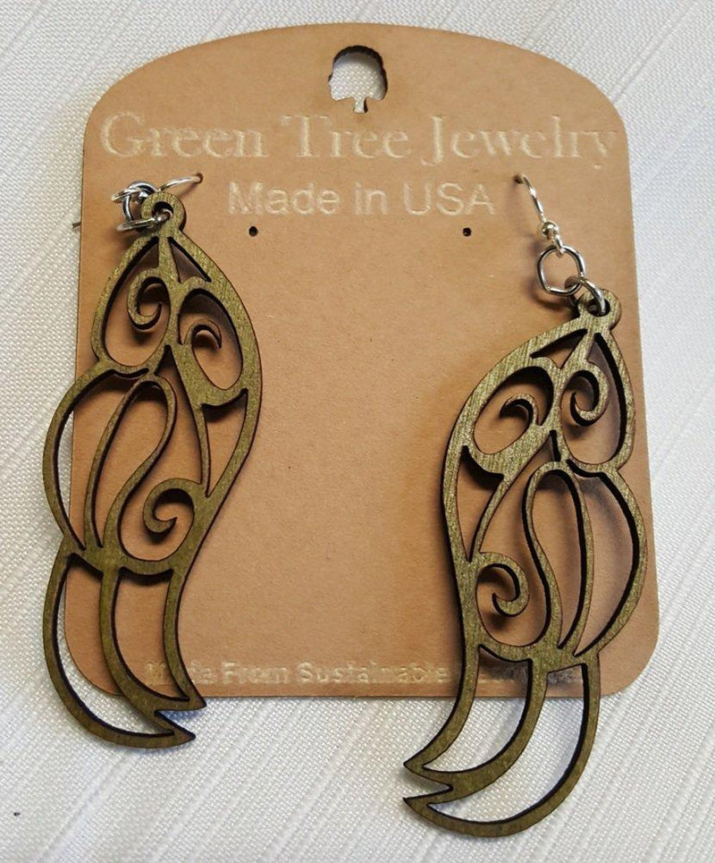 Feather Dangle Earrings by Green Tree Jewelry, Made in the USA - Green Tree Jewelry