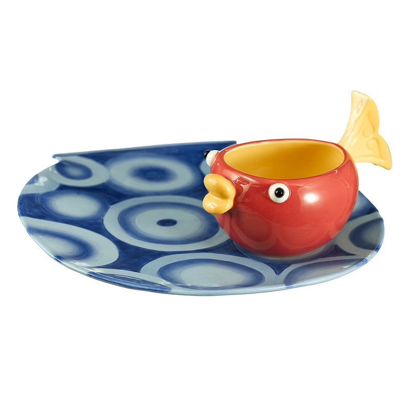 Grasslands Road Studio 100 Making Waves 10 by 10-3/4-Inch Fish Bowl Shaped Platter with Fish Tail Handle Dip Bowl, 2-Piece Set