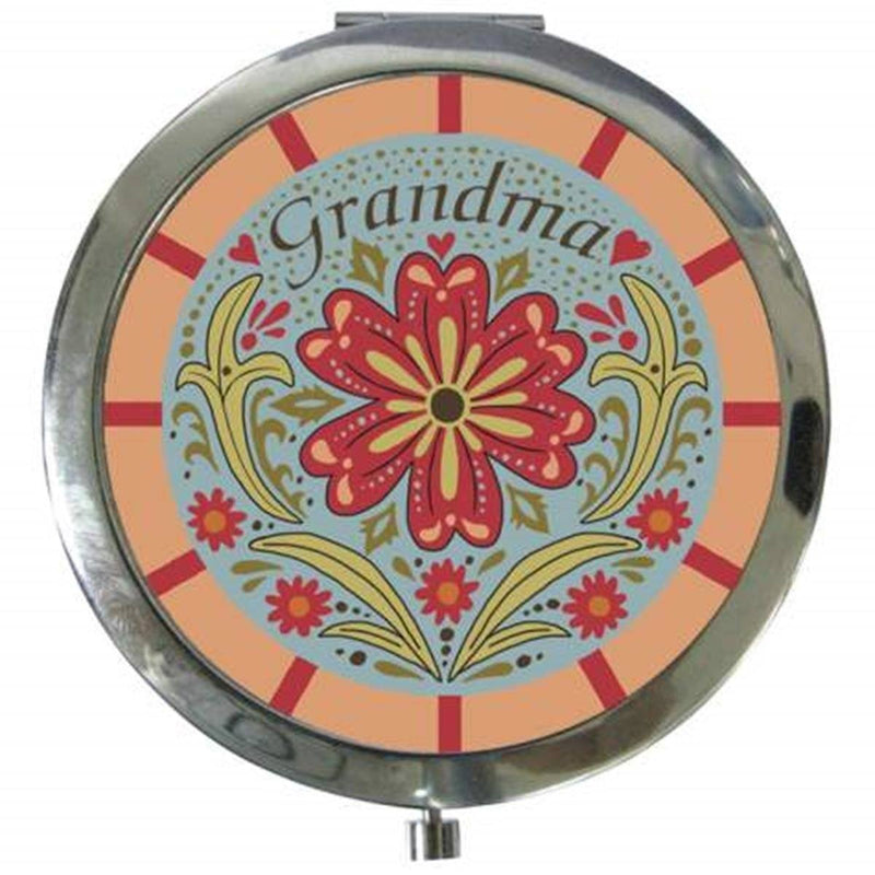 "3"" Blue, Red, & Pink ""Grandma"" Compact with Flowers"