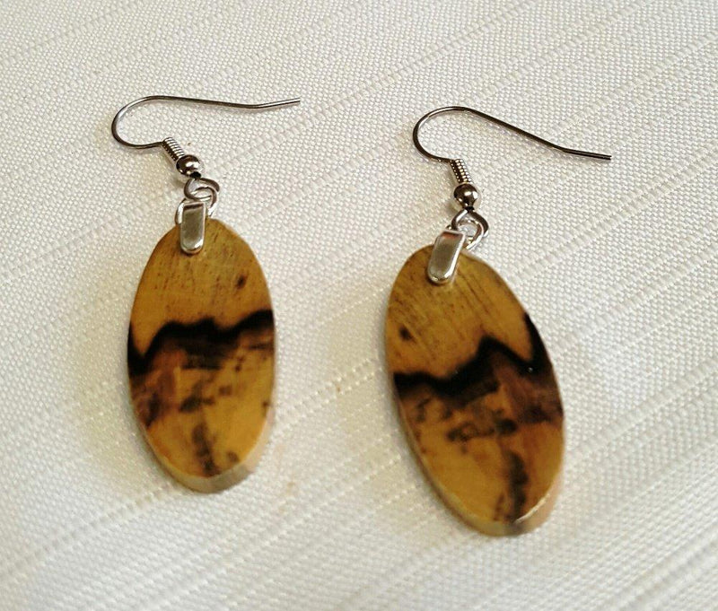 Forest Life Creations Handmade Earrings, Black and White Ebony
