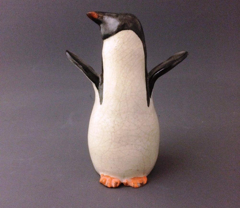 PotTerre Raku & Stoneware Adelie Penguin Figurine, At Attention, Wings Up, Handmade in the USA